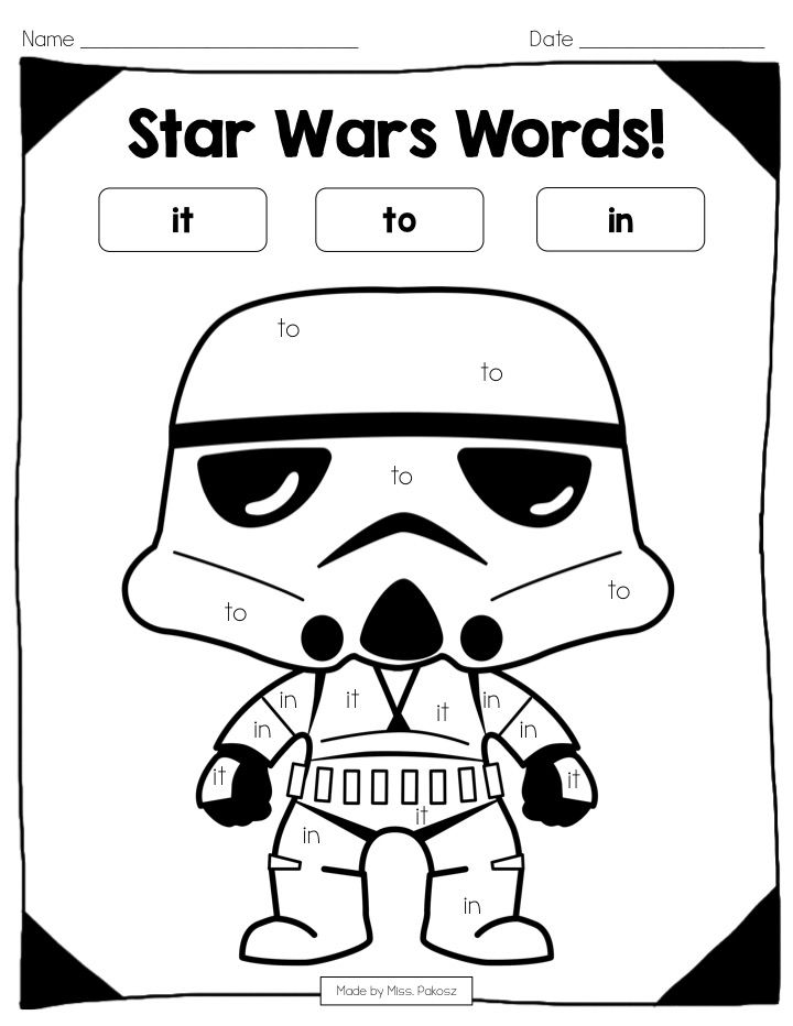 Star Wars Color-By-Sight-Word **EDITABLE** PrePrimer