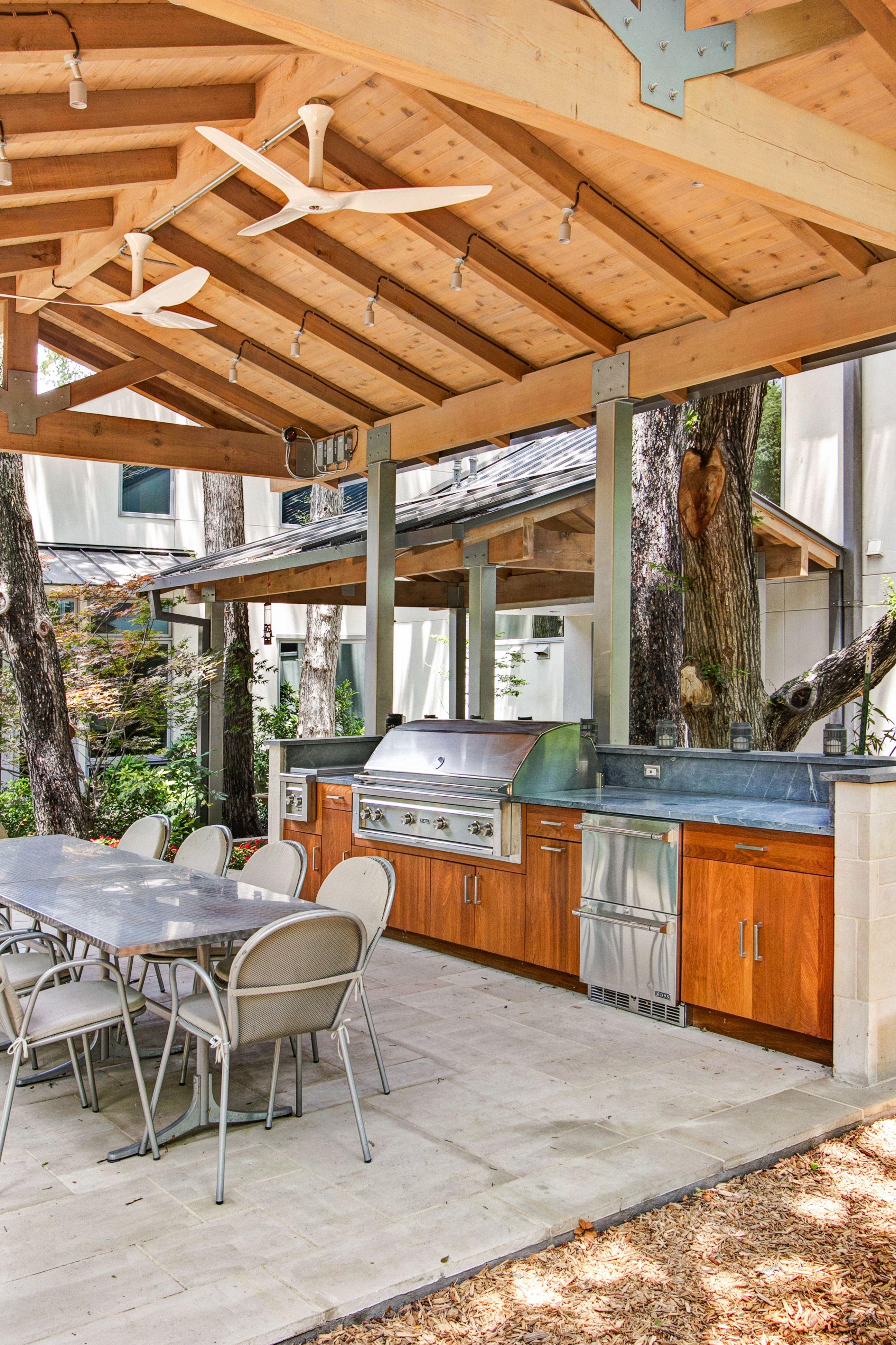 Teak Cabinets With Slab Door Lynx 54 Grill Double Side Burner And Drawer Fri Outdoor Kitchen Design Layout Covered Outdoor Kitchens Outdoor Kitchen Design