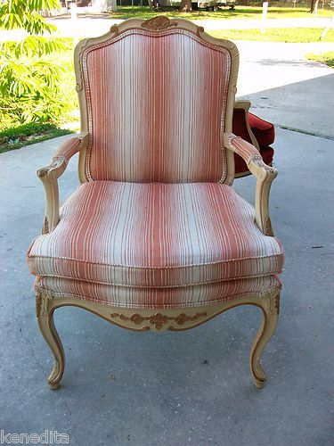 Parlor Chair French Bergere Hollywood Regency Carved Louis XVI Victorian Boudoir | eBay