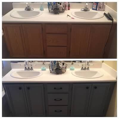 Painted master bathroom cabinets for a quick makeover.