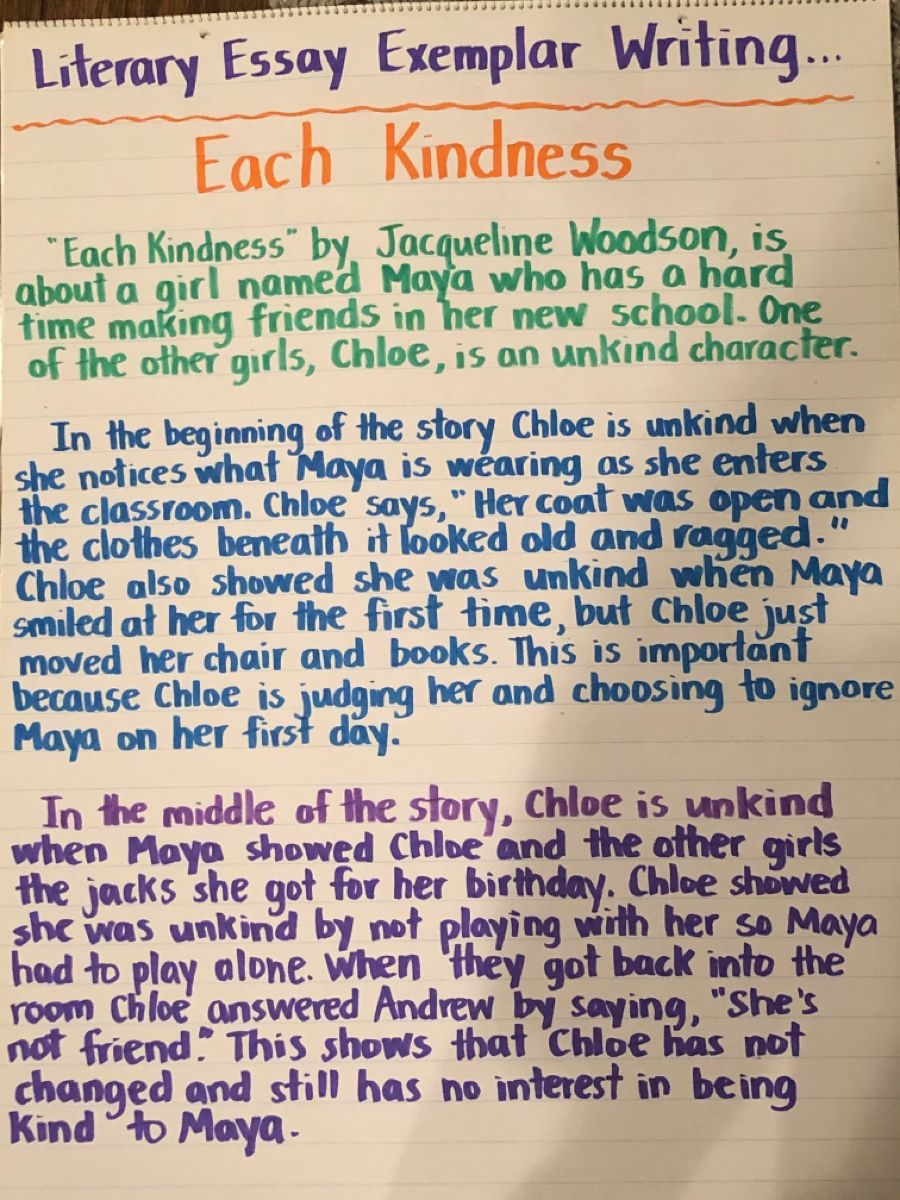 Each Kindness Exemplar Essay Writing Examples Literary Essay Literary Analysis Essay