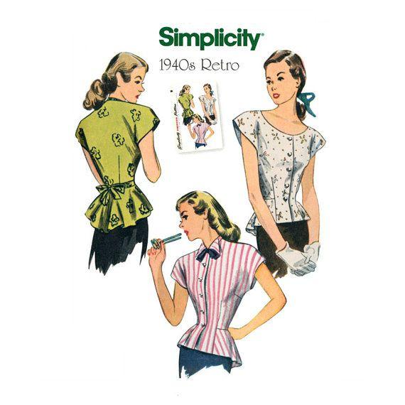 década de 1940 blusa patrón simplicidad reedición sin cortar 1590 ...