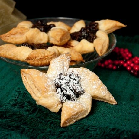 Finnish Christmas Stars.  Plum jam in the centre on puff pastry pinwheels.