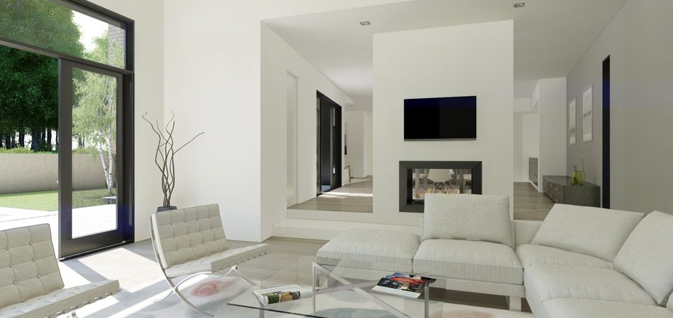 modern fireplace images double sided | The large family room has ...