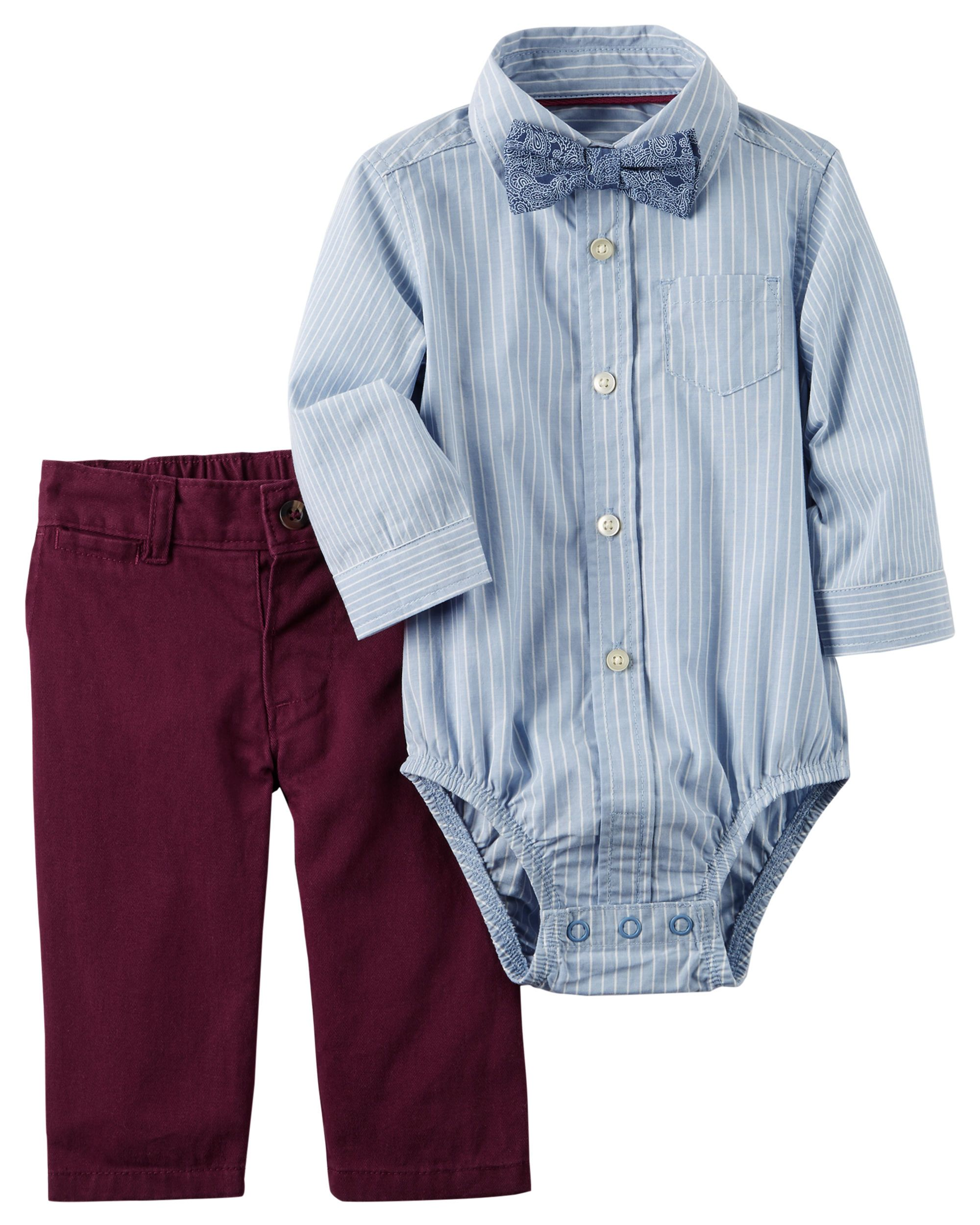 ceb49761da82 Featuring a handsome bow tie, this bodysuit and pant set is picture perfect  for holiday parties.