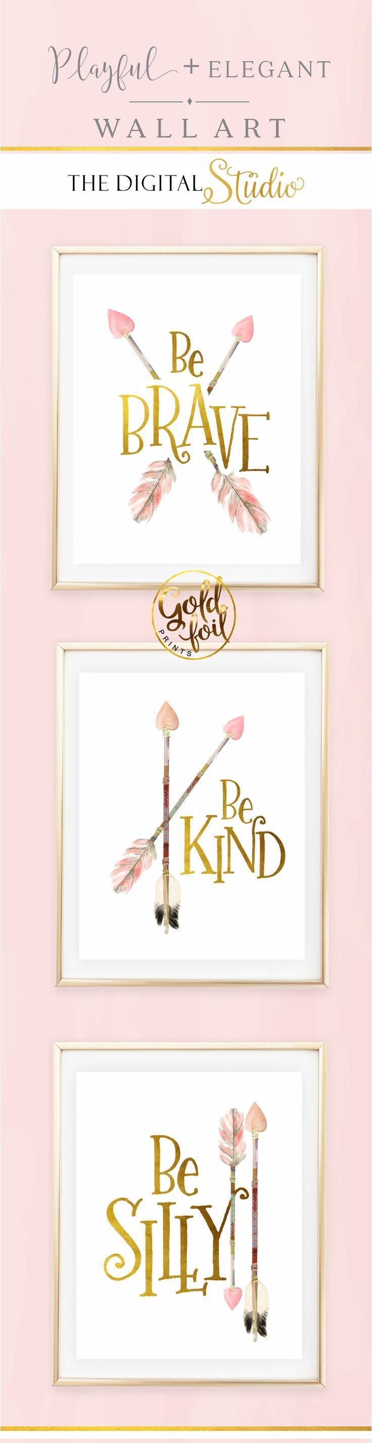 Awesome baby girl nursery wall decor set of 3 pink and gold wall