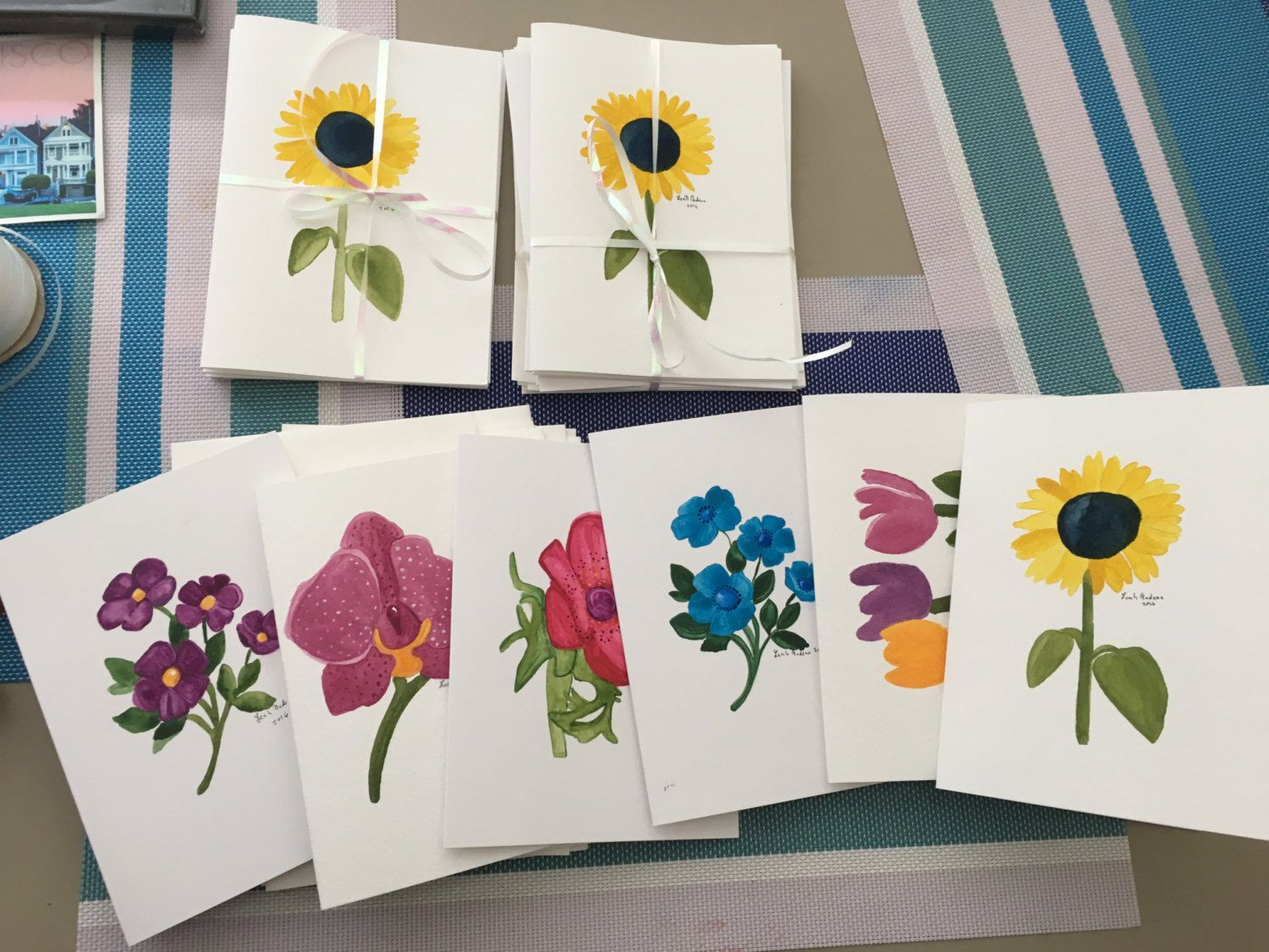Set Of 6 Handmade Watercolor Cards By Andromedapaintings