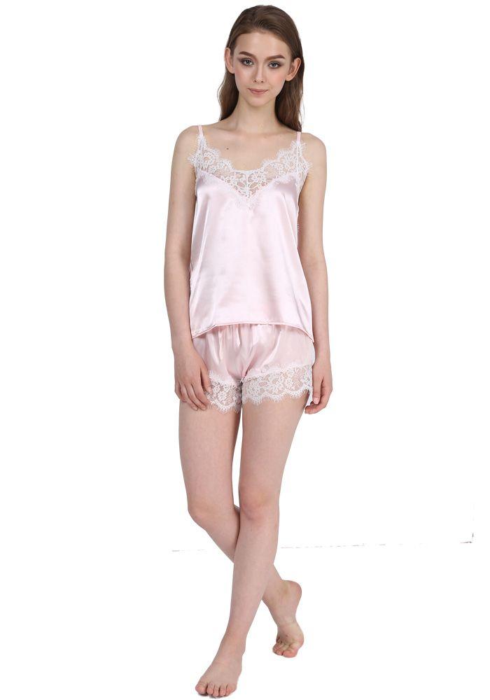 5eac66e558b Satin Pajamas Set Lace Trim Pijama Short Pant Sexy Cami Bridal Sleepwear  Sets For Women