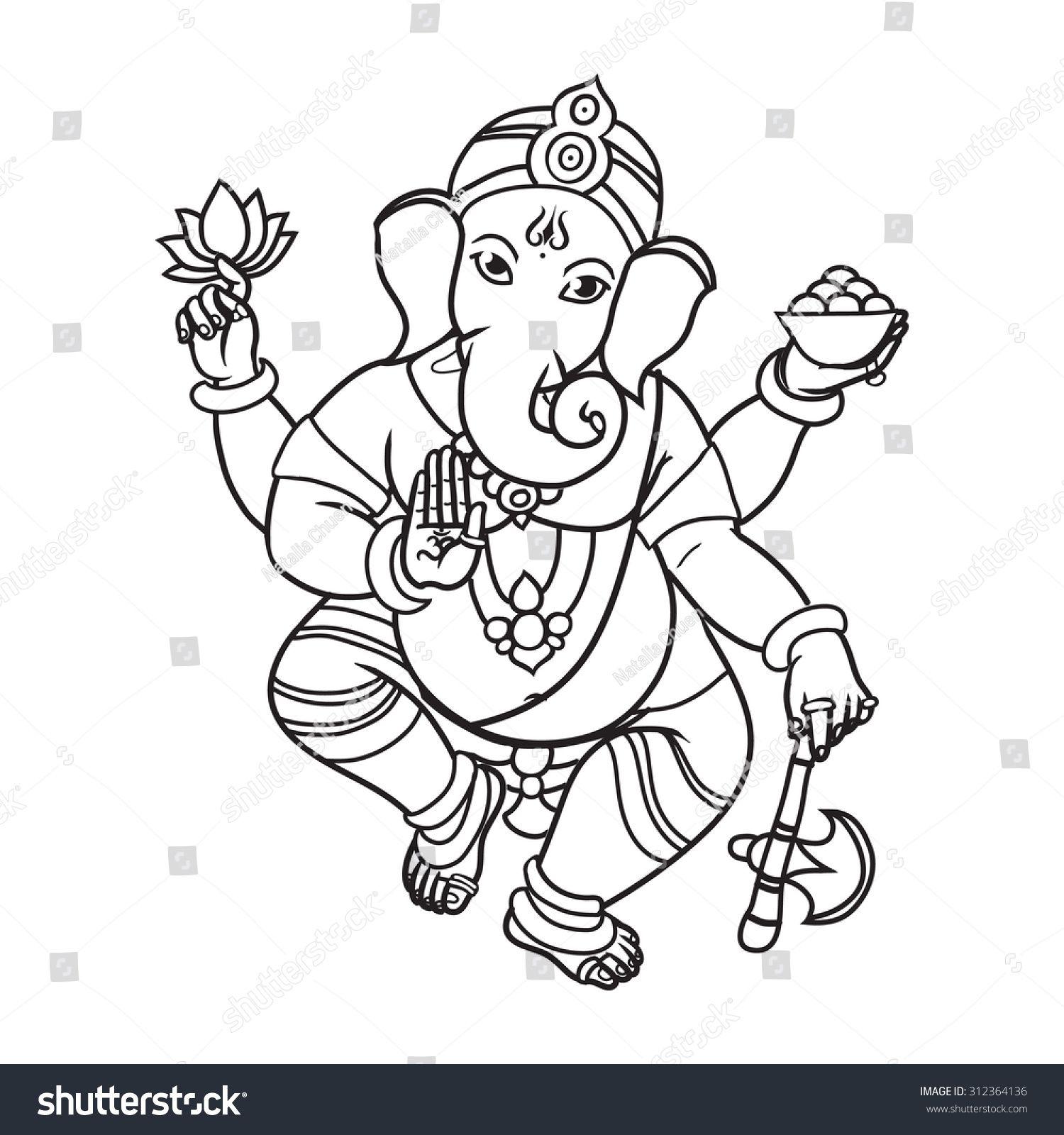 Cartoon vector elephant head god ganesha invitation cards