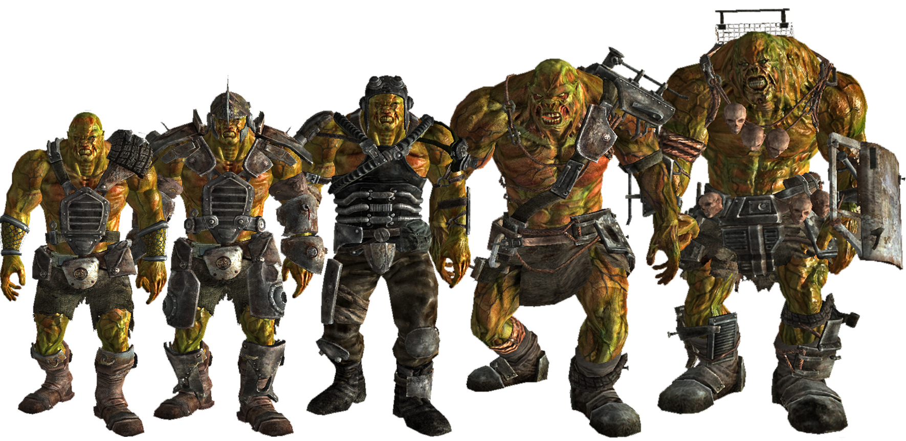 Vault 87 Super Mutant Tiers Left To Right Regular Mutant Brute