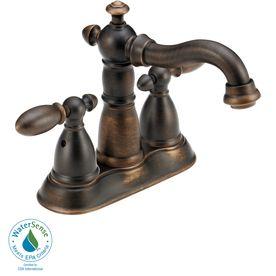 Delta Victorian Venetian Bronze 2-Handle 4-in Centerset WaterSense Bathroom Faucet (Drain Included)