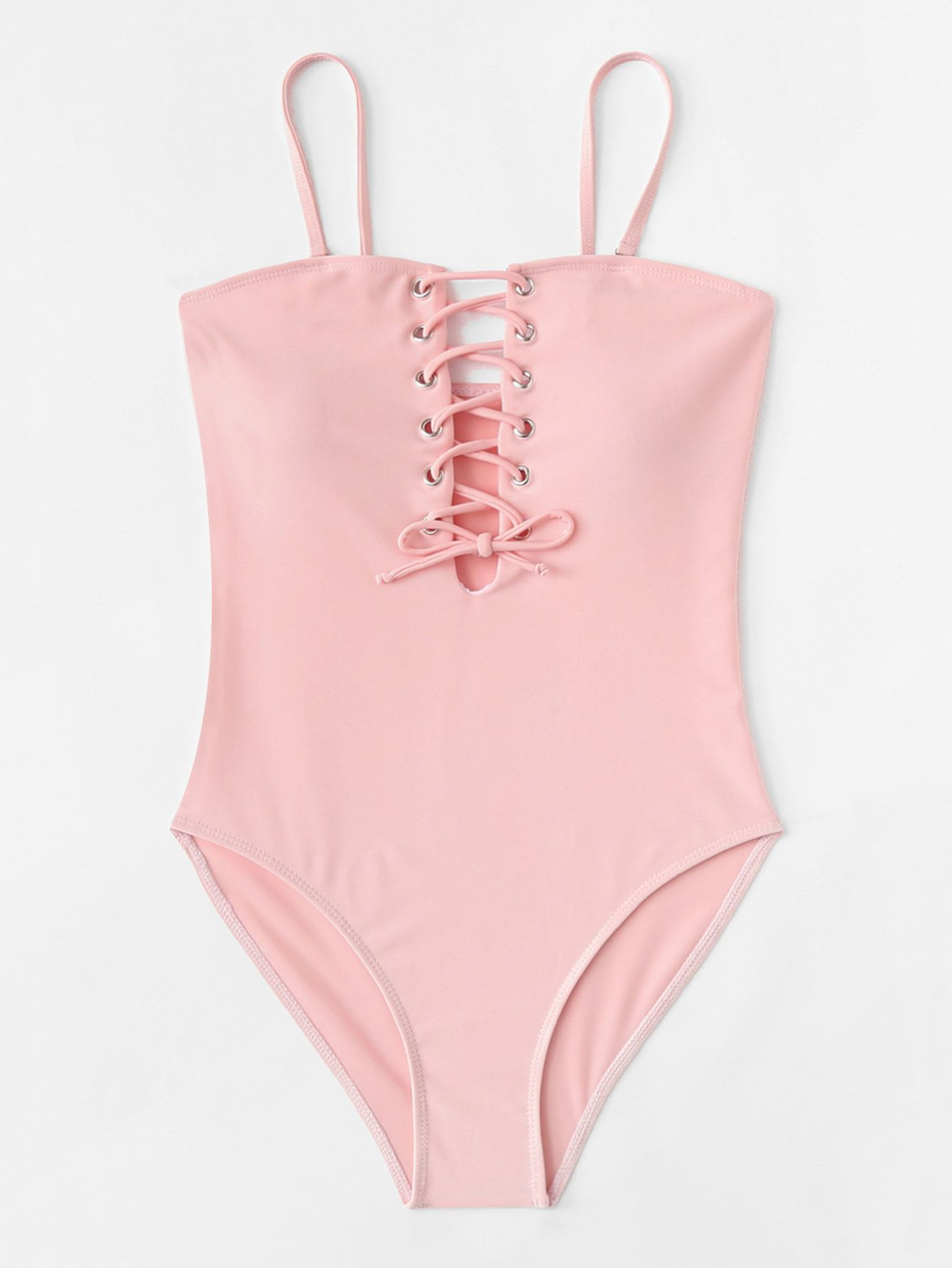 0d5d65cb02 Lace Up Spaghetti Strap One Piece Swimsuit in 2019 | swim suits ...