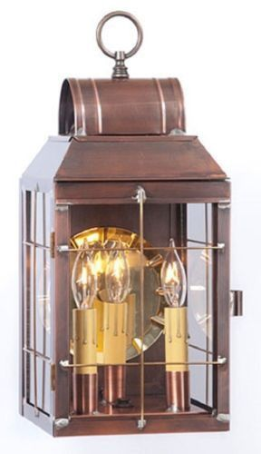 ANTIQUE COPPER OUTDOOR WALL LIGHT Classic COLONIAL LANTERN With HANDMADE  BARS