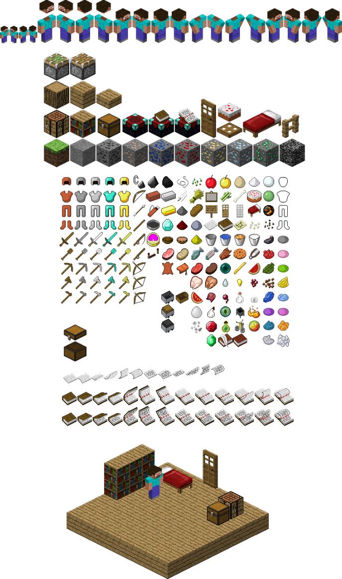 Isometric Minecraft Sprites By Mariomaster102 On Deviantart Isometric Cube Isometric Isometric Graph Paper