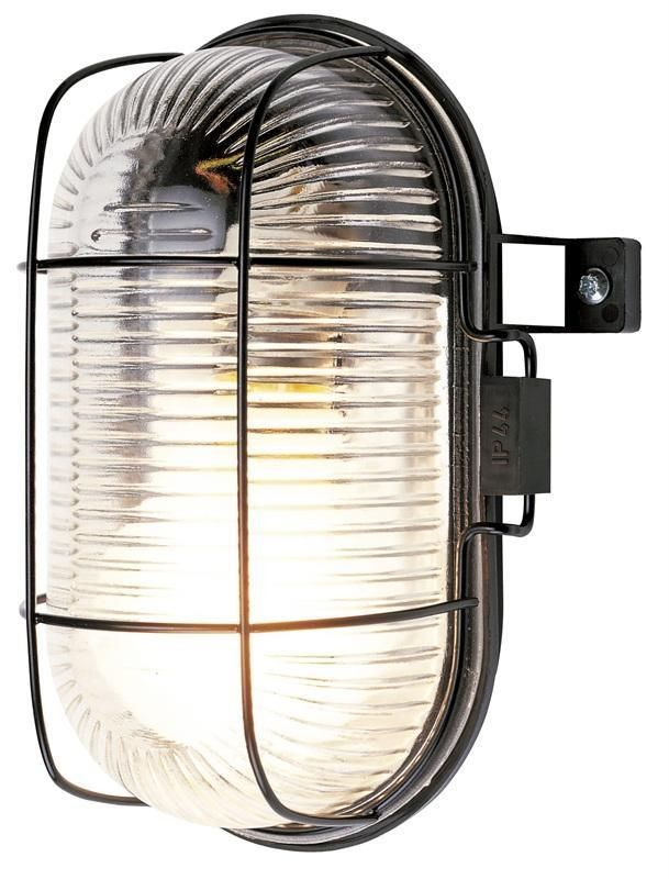 Outdoor Oval Bulkhead Security Light Vandal Resistant IP44 Caged