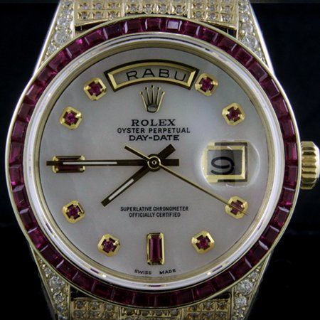 8401759daca Rolex President Day Date Men Mother Of Pearl Ruby Hour Markers With Ruby  Bezel