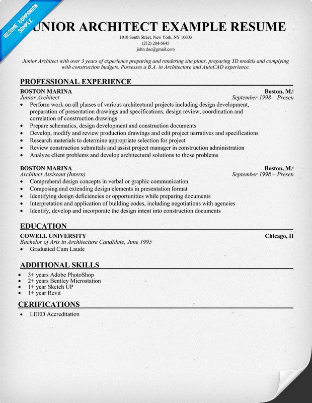 Resume - Junior Architect (resumecompanion) Resume Samples - sample architect resume