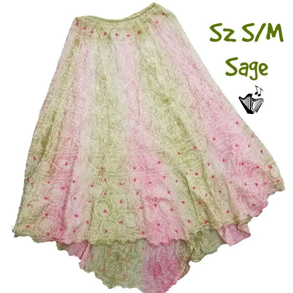 164afc7eb16 Sage Machado Silk Skirt Sz S M Sequined Ombre Silk Asymmetrical Hem Extra  Long  SageMachado  Asymmetrical  silk  skirts  designer  fashion  style