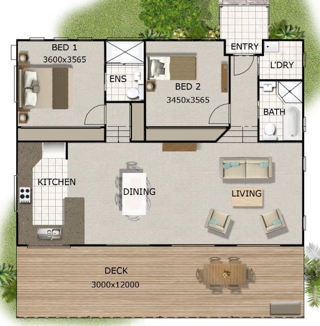 Australian Granny Flat 2 Bedroom Cottage Plans Granny Flat Floor Plans Small House Floor Plans Cottage Plan House Plans