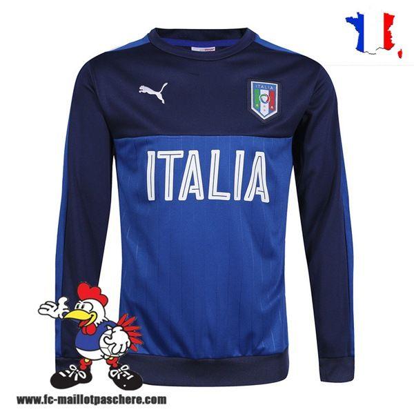Promo Nouveau Homme Sweatshirt Training Italie NoirBleu