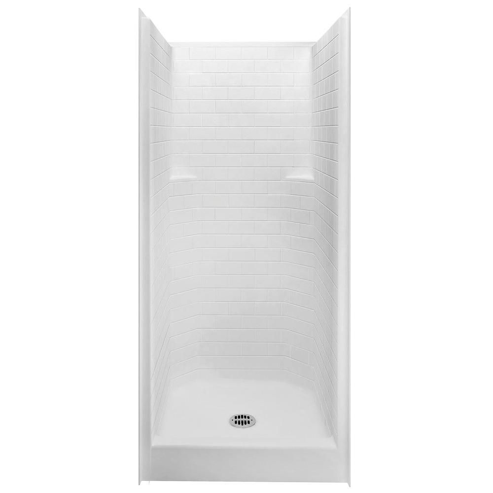 Aquatic Everyday Subway Tile 36 In X 36 In X 80 In 1 Piece Shower Stall With Center Drain In White 13636stt Whhd The Home Depot Shower Stall One Piece Shower Stall Small Shower Stalls