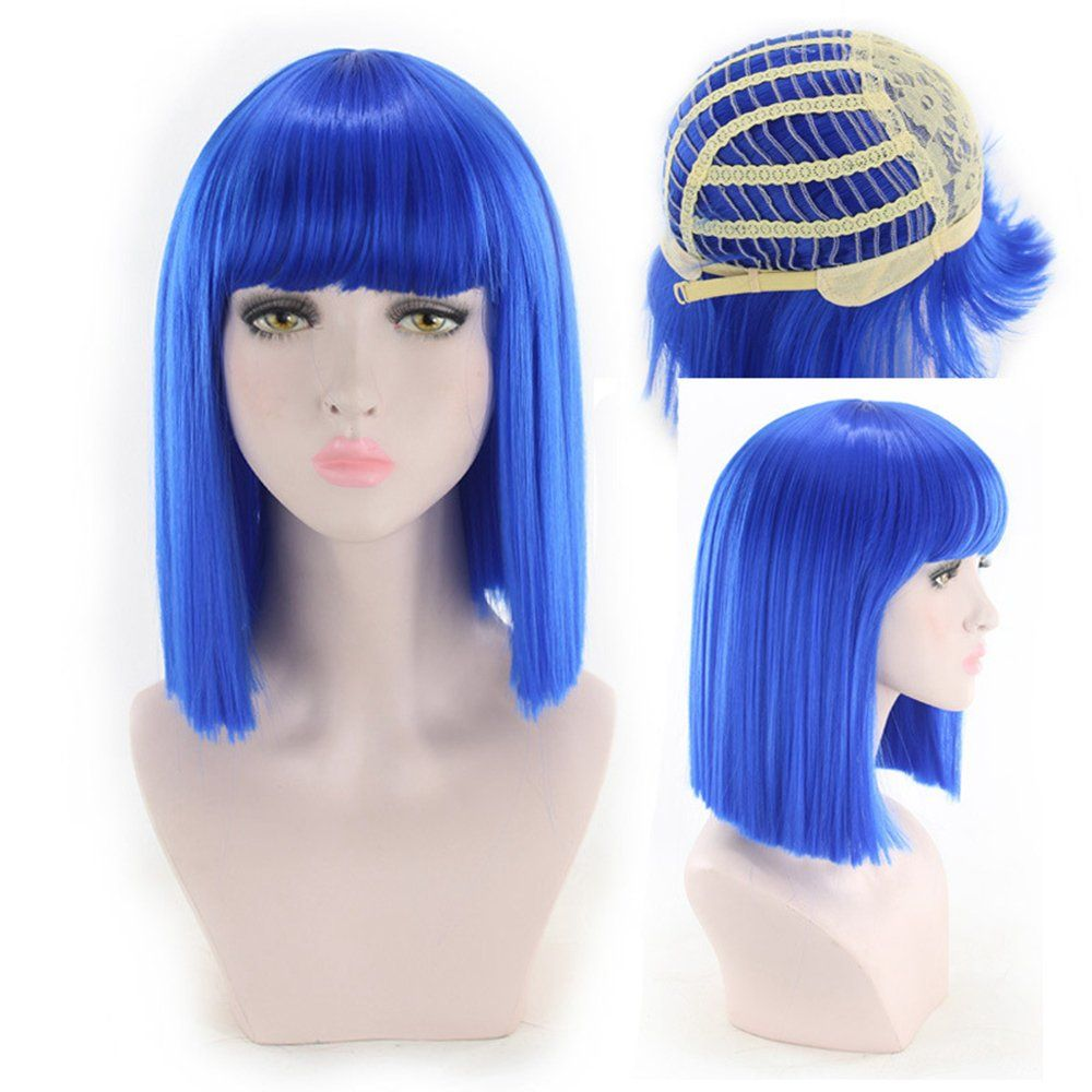 Halloween Outfit Concepts Leyee Women Short Straight Bob Wigs With Neat Bangs Silky Synthetic Hair Cosplay Party Costu Bob Wigs Full Hair Stylish Short Hair
