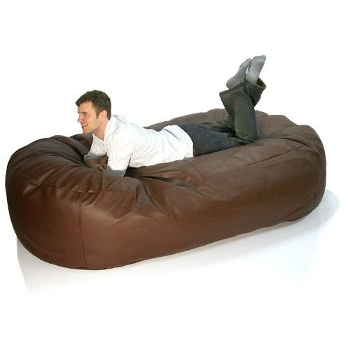 Faux Leather Sofa Bed Bean Bag Chocolate Brown Furniture