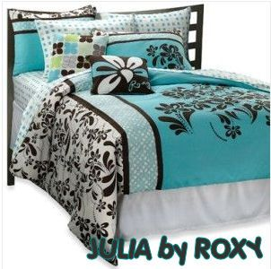Turquoise Blue Chocolate Brown White Tropical Bedding Roxy Julia
