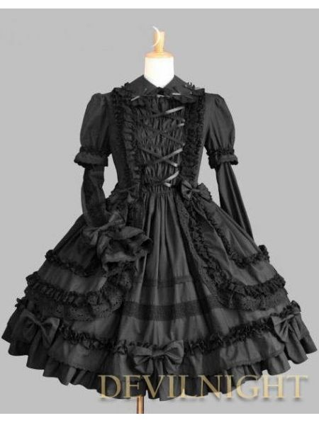 2950d9585cb Black Long Sleeves Bow  Sweet  Gothic  Lolita  Dress