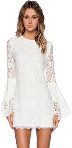 Celestial Flare White Lace Long Bell Sleeve Scoop Neck Mini Shift Dress