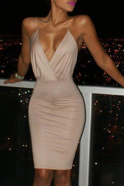 fa4d99cc1c Sexy Plunging Neck Backless Criss-Cross Solid Color Bodycon Dress For Women