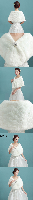 NZUK 2018 Winter Bridal Fur Wraps Wedding Bolero Jacket Cheap Bridal ...