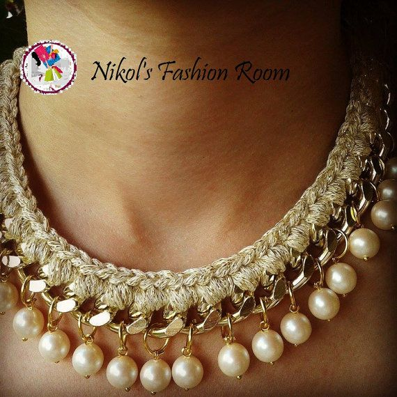 Pearls Statement Necklace. Woven Chain Necklace with Pearls. Handmade  Necklace. Χειροποίητο ΚολιέΧειροποίητα ΚοσμήματαDyi ... a5f56e7a468
