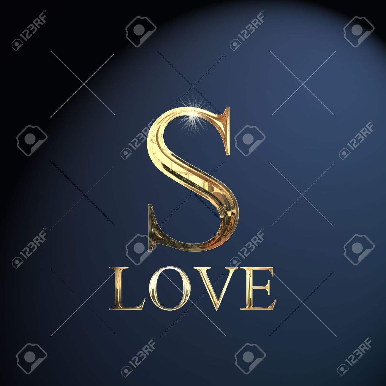 Gold S Gold Alphabet Letter S Word Love On A Blue Background
