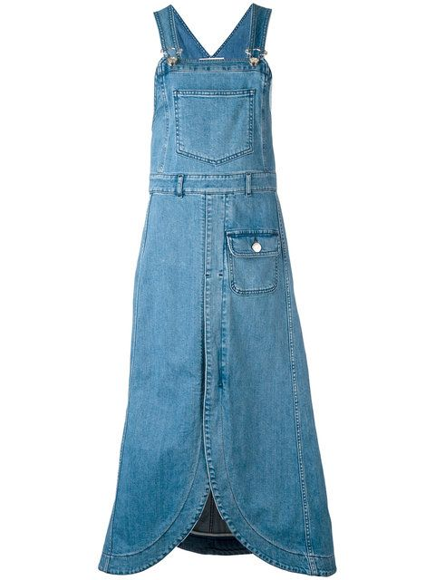 41ff0f2f789 Shop See By Chloé denim pinafore midi dress.