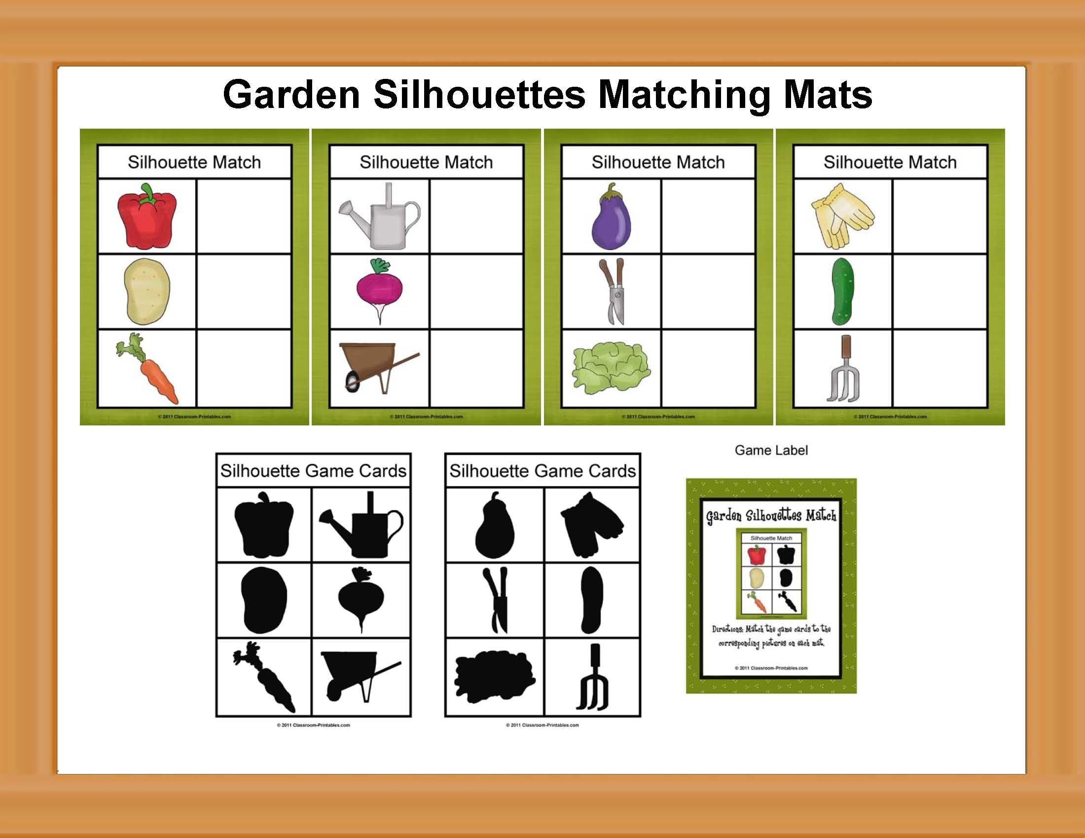 Garden trees names  Garden Silhouettes Matching Game  groenten  Pinterest  Matching