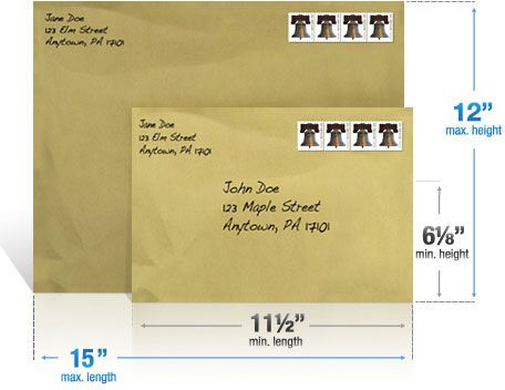 usps first class stamp envelope size