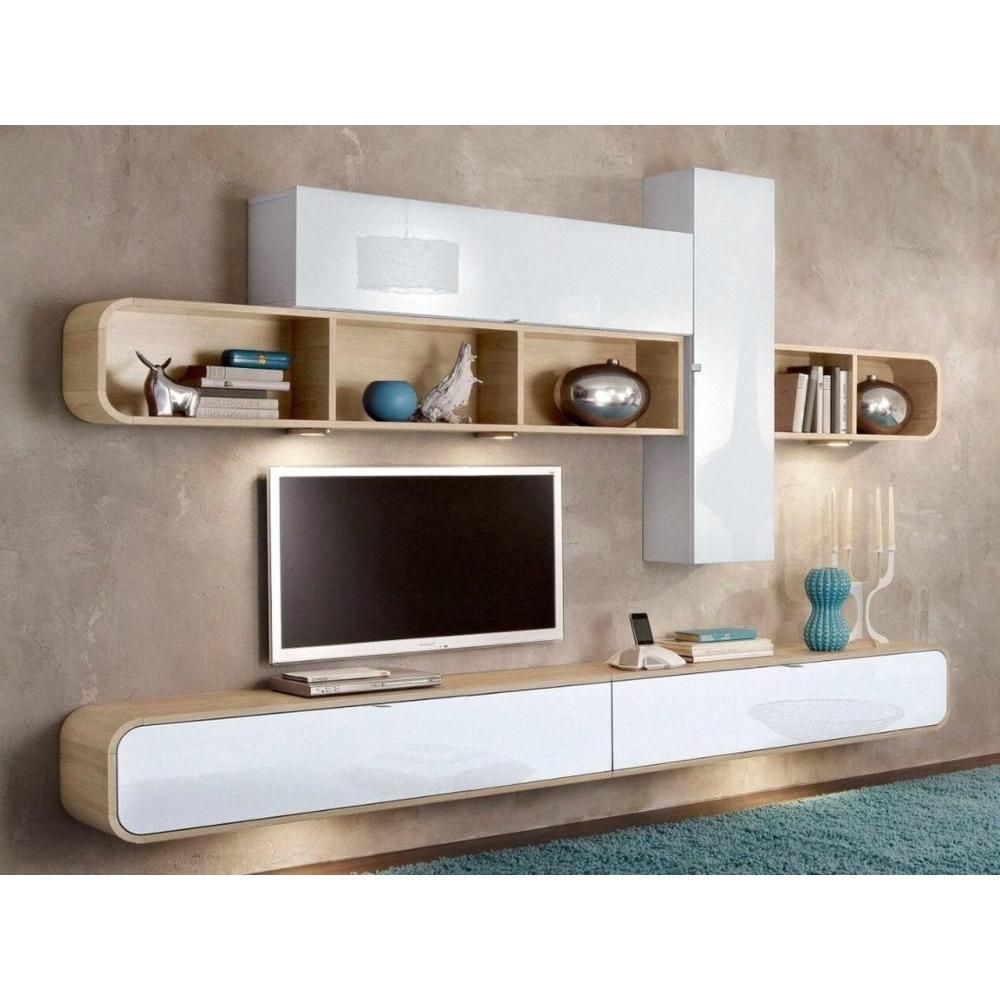 Composition Murale Tv Cobra Design Blanche Et Chene Meuble Tele Design Mobilier De Salon Meuble Tv
