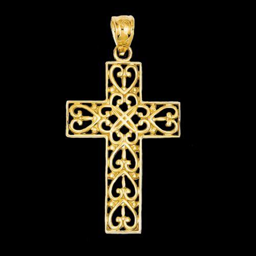 14k Diamond-cut Filigree Cross Pendant