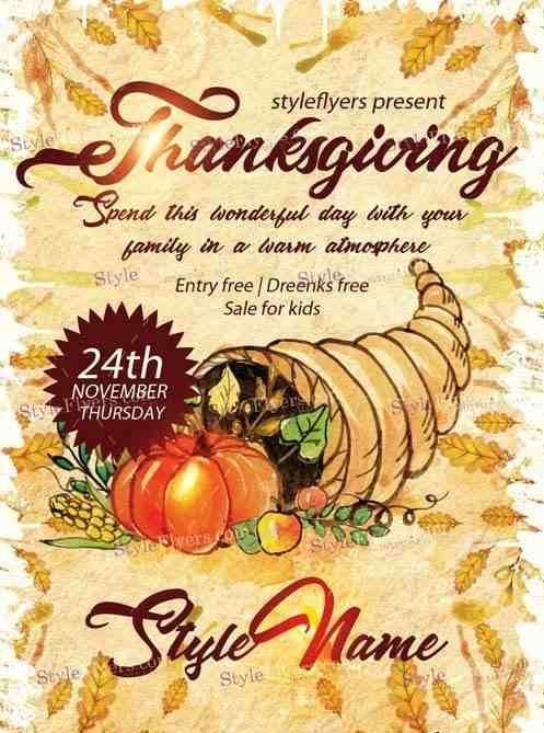 Thanksgiving V11 Psd Flyer Template Thanksgiving Flyers