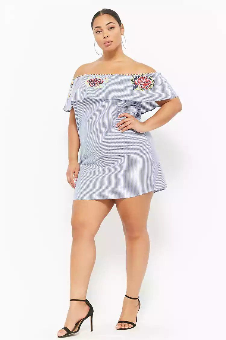 a4607b85ab5aa Product Name Plus Size Embroidered Striped Off-the-Shoulder Dress ...