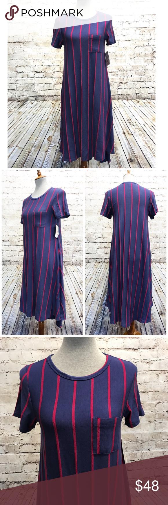 Lularoe carly red blue vertical stripe nwt dress nwt my posh picks