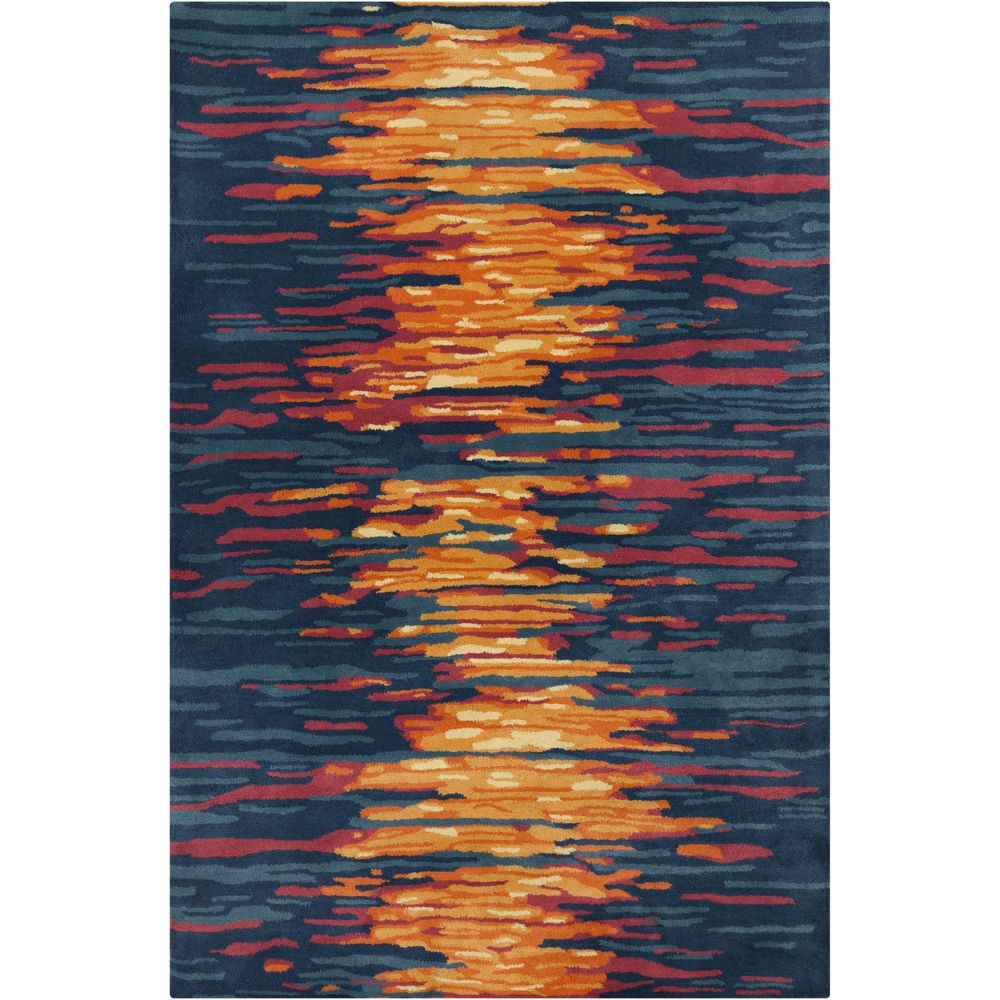 Superb Filament Hand Tufted Allie Abstract Blue Wool Rug (5u0027 X 7u00276) (Red), Size 5u0027  X 8u0027. Orange Area ...