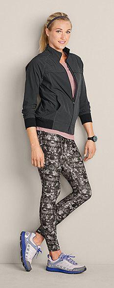 d7cd353b581ae Shop the Look: Eddie Bauer Myriad Jacket in Dark Smoke, Movement Leggings  Print, Resolution Short-Sleeve T-Shirt & Women's Highline Trail Pro   # ...