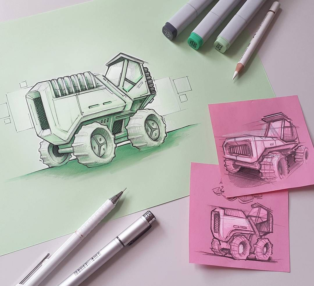 After the shoeskech I posted few weeks ago, here is another topic I'm not really comfortable with. I think it's pretty hard to do good transportation concept sketches, but this is definelty something I want to learn in the future and you got to start somewhere I guess. Started with some thumbnail concepts of land machines (maybe bulldozer?) and then I tried to translate them into a cleaner version. Unfortunately lost some of the flow of the lines on bigger one. Have to find a good mix of…