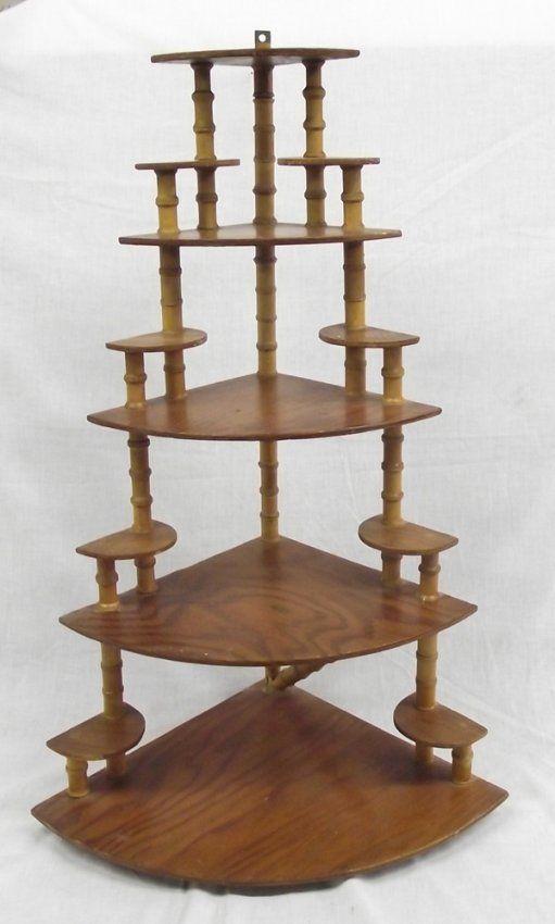 Folk Art Wooden Spool Shelf On In 2019