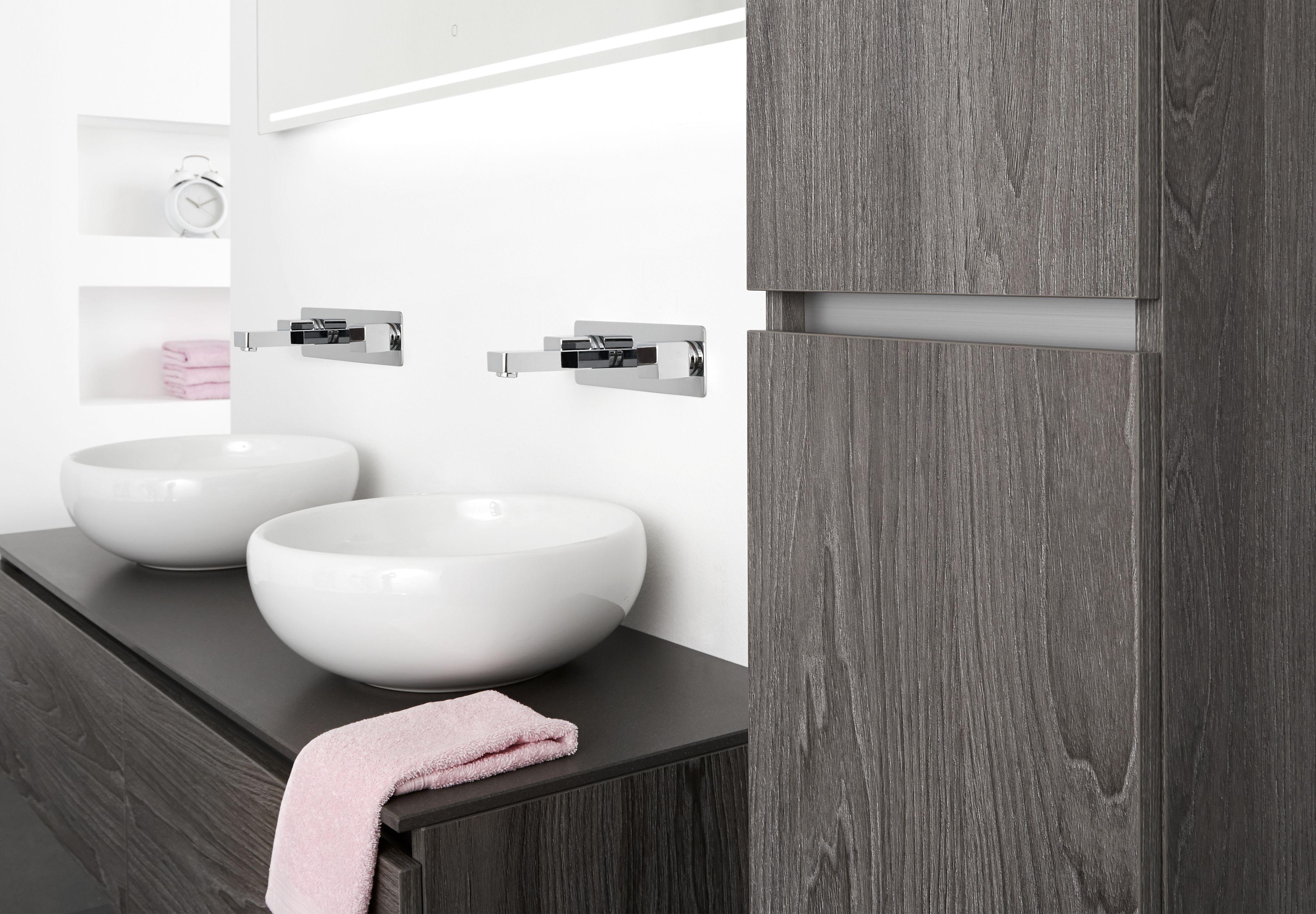 badkamermeubel stone geeft met haar ronde wasbakken een moderne