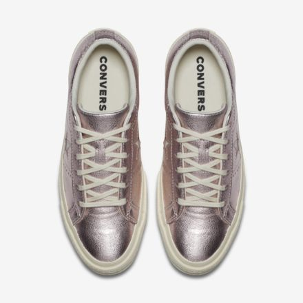 e12bd32e68090c Converse One Star Heavy Metallic Leather Low Top Unisex Shoe