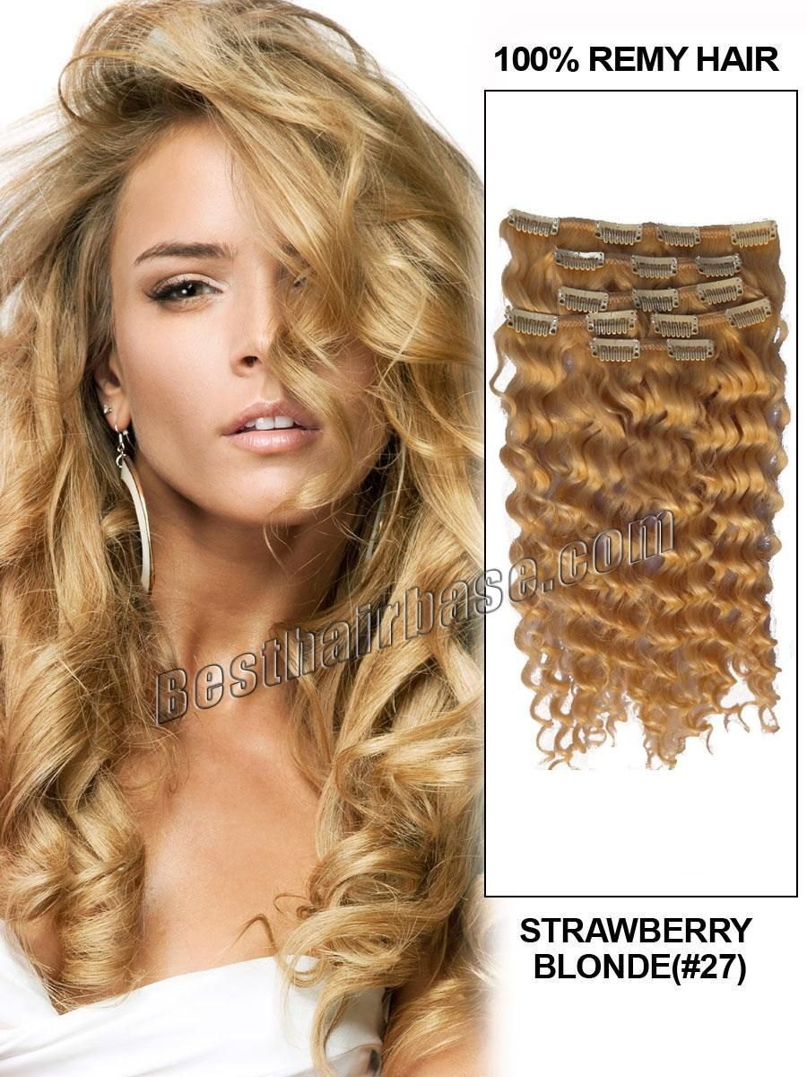 18 Inch Curly Clip In Hair Extensions Graceful 27 Strawberry Blonde