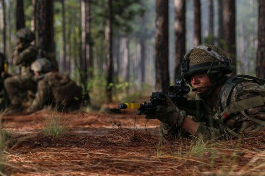 Paratroopers assigned to the British 16 Air Assault Brigade conducts an assault on Freedom City as the culminating event for Combined Joint Operational Access Exercise 15-01 on Fort Bragg, N.C., April 18, 2015.